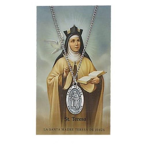 Pewter St. Teresa of Avila Medal with Prayer Card