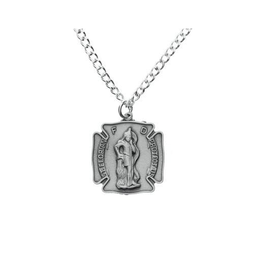 Pewter St. Florian Medal with Prayer Card Fireman