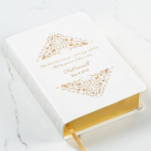 Personalized Greatest is Love Wedding Bible