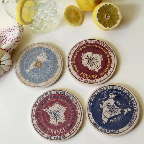 Passport Stamp Sandstone Coasters