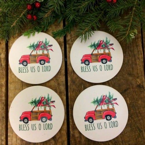 Retro Woody Wagon Christmas Tree Coasters