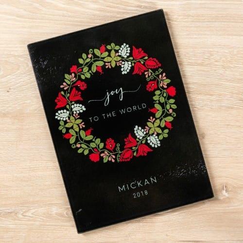 Personalized Joy Christmas Wreath Glass Cutting Board