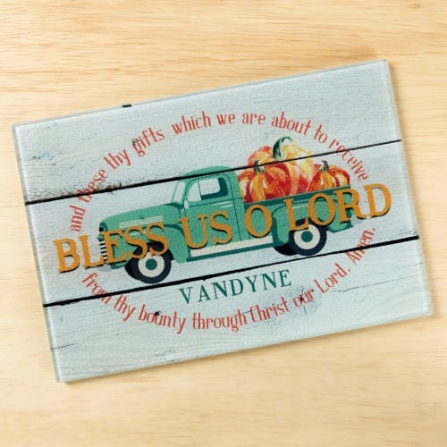 Personalized Harvest Bless Us O Lord Cutting Board