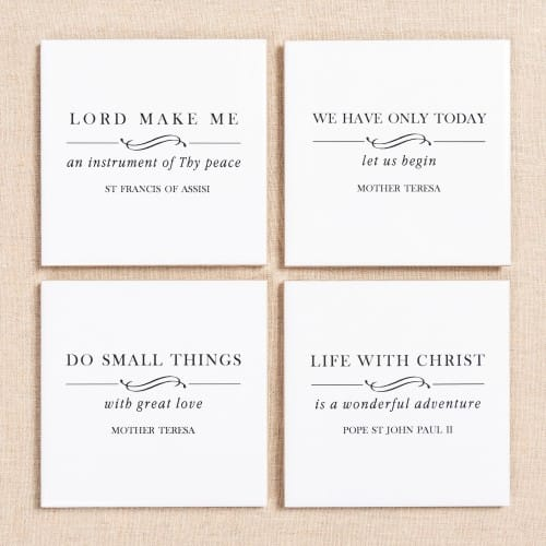 Black & White Saint Quote Coasters - Set of 4