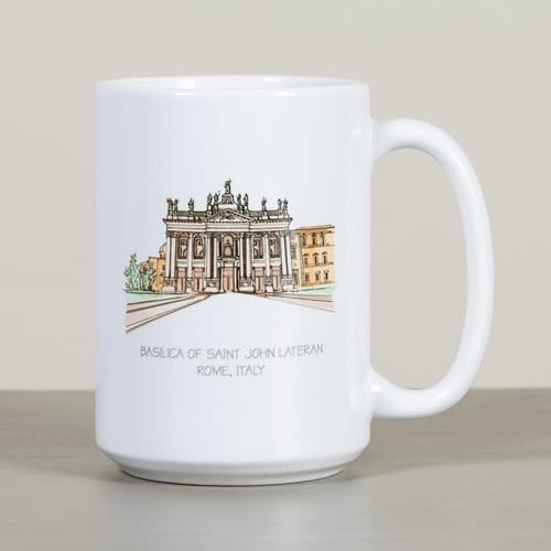 St. John Lateran Basilica Ink & Watercolor Mug