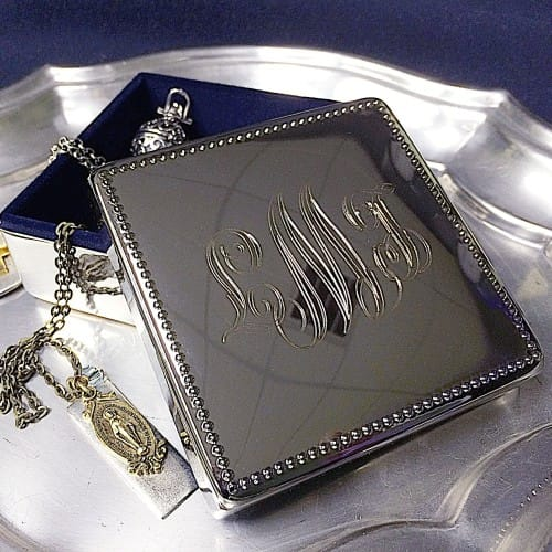 Personalized Beaded Edge Silver Box