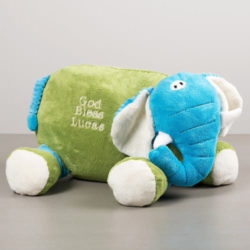 """God Bless You"" Elephant Pillow Buddies"