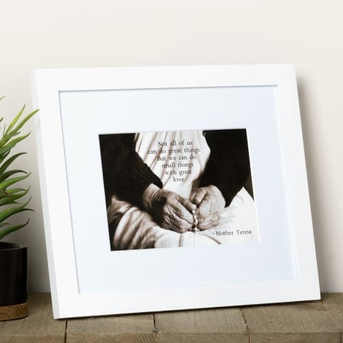 "Mother Teresa ""Small Things with Great Love"" Framed Print"