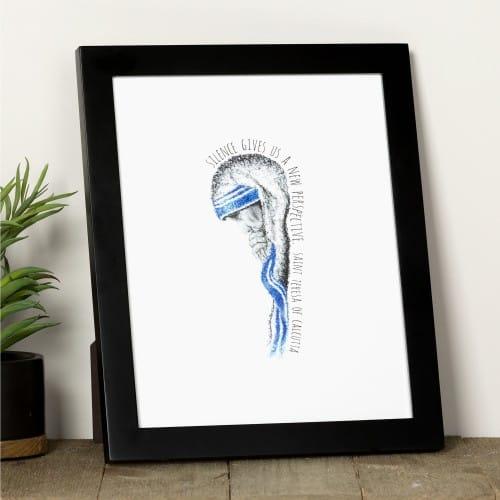 """Mother Teresa """"Silence"""" Framed Print"""