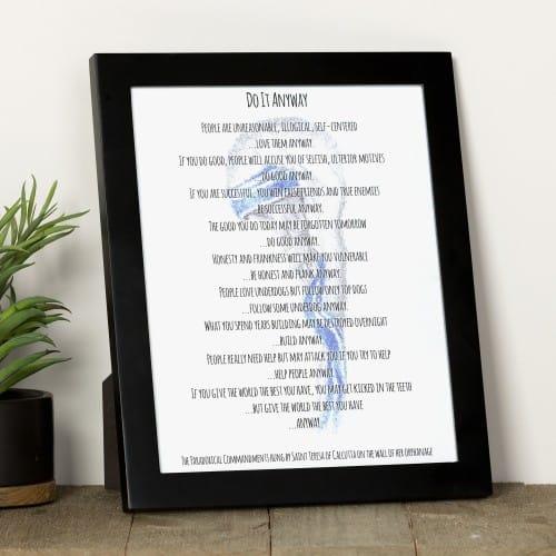 "Saint Teresa of Calcutta ""Do It Anyway"" Prayer Framed Print"