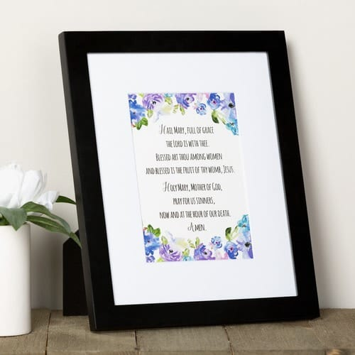 Hail Mary Watercolor Prayer Print