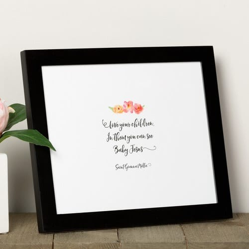 "St. Gianna Molla ""Love Your Children"" Watercolor Framed Print"