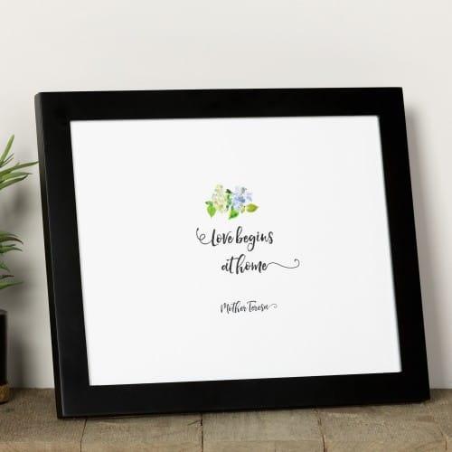 "St. Mother Teresa ""Love Begins at Home"" Watercolor Framed Print"