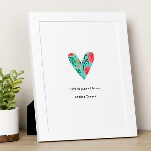 God Notes Floral Heart Print