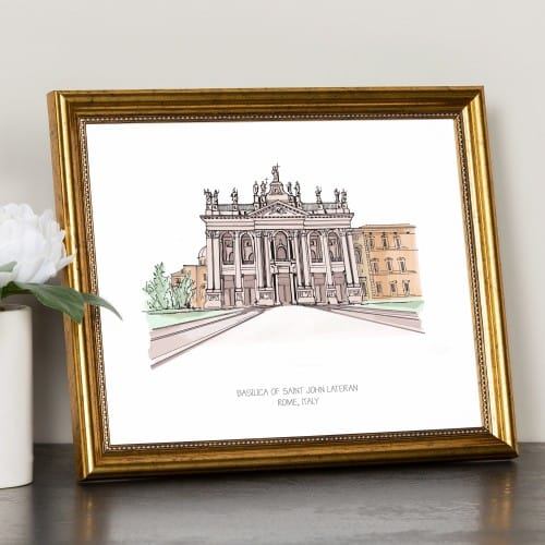 St. John Lateran Ink & Watercolor Framed Prints