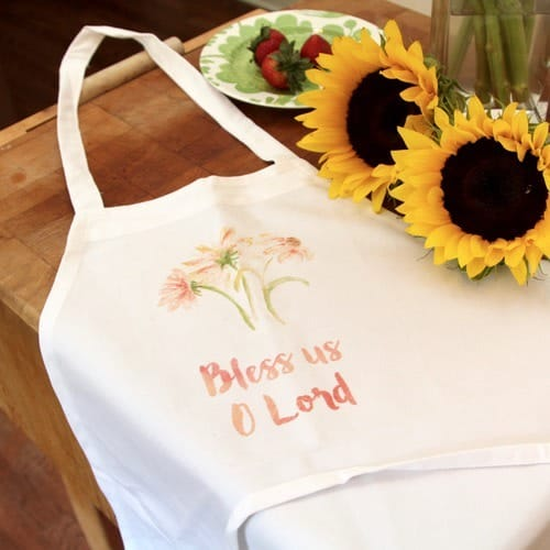 Watercolor Bless Us O Lord Floral Apron