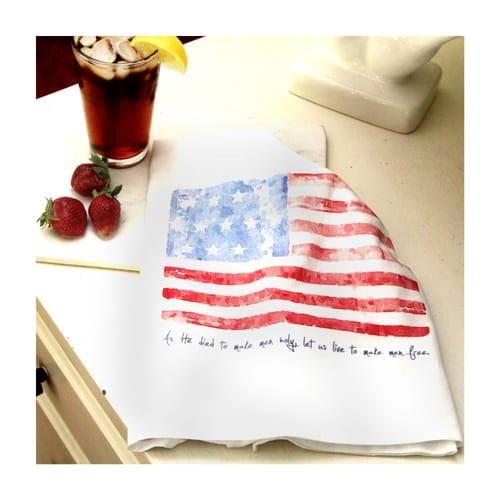Battle Hymn American Flag Flour Sack Dish Towel