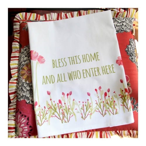 Bless This Home Watercolor Dish Towel