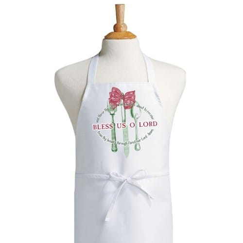 Bless Us O Lord Christmas Apron and Dish Towel