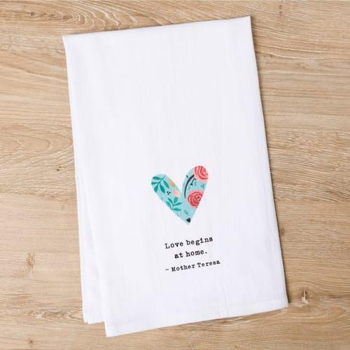 God Notes Floral Heart Flour Sack Dish Towel