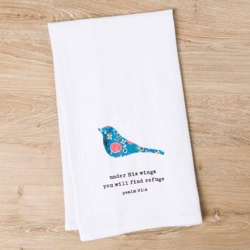 God Notes Floral Bird Flour Sack Dish Towel