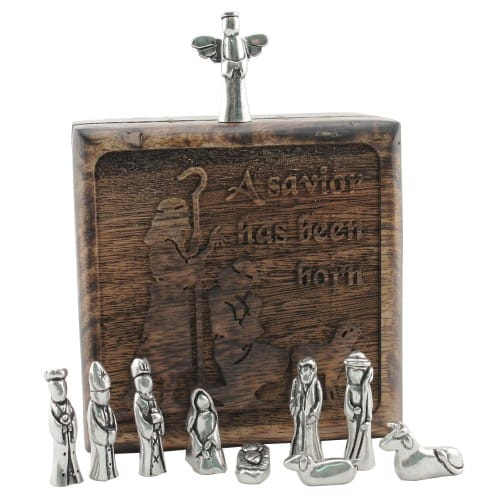 Personalized Shepherds Keepsake Box w/ Pewter Nativity Figures Gift Set