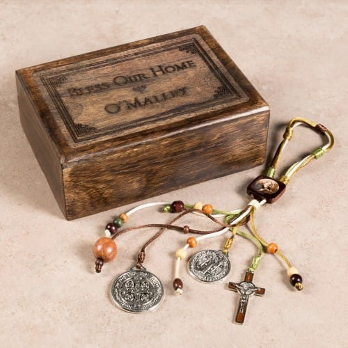 Personalized Benedict Medal Home Blessing Set