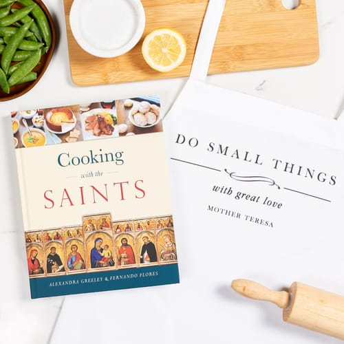 Cooking With The Saints Cookbook and Mother Teresa Do Small Things Apron...