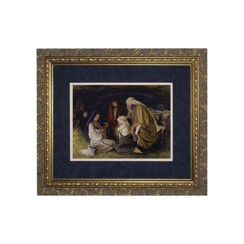 Adoration of the Shepherds (Matted w/ Ornate Gold Frame)