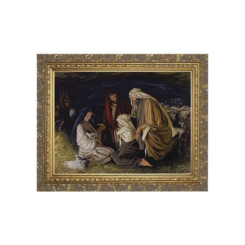 Adoration of the Shepherds w/ Ornate Gold Frame (9x12)