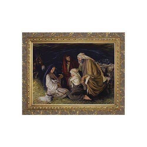 adoration of the shepherds w ornate gold frame 9x12 the catholic company. Black Bedroom Furniture Sets. Home Design Ideas