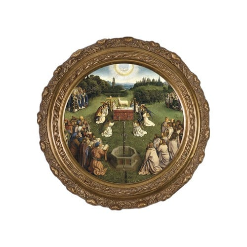 Altar of the Lamb on Canvas w/ Round Gold Frame
