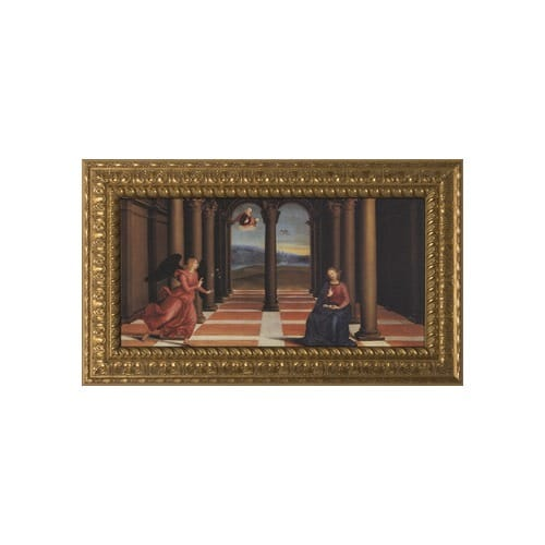 The Annunciation on Canvas w/ Ornate Gold Frame