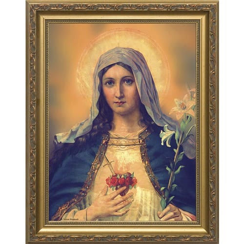 Antique Immaculate Heart w/ Gold Frame