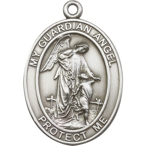 Antique Silver Guardian Angel Keychain The Catholic Company