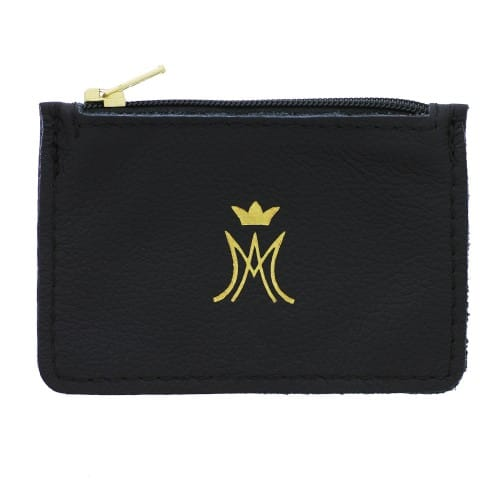 Ave Maria Black Leather Zipper Rosary Purse
