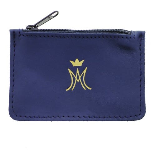 Ave Maria Blue Leather Zipper Rosary Purse
