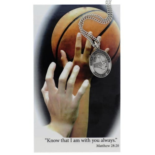 Basketball Sports Medal and Prayer Card - Girls
