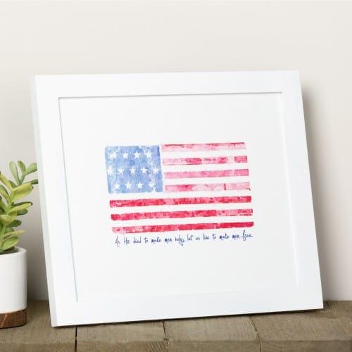 Battle Hymn Watercolor Flag Framed Print | The Catholic Company