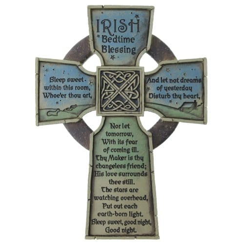 Irish Bedtime Blessing Celtic Wall Cross