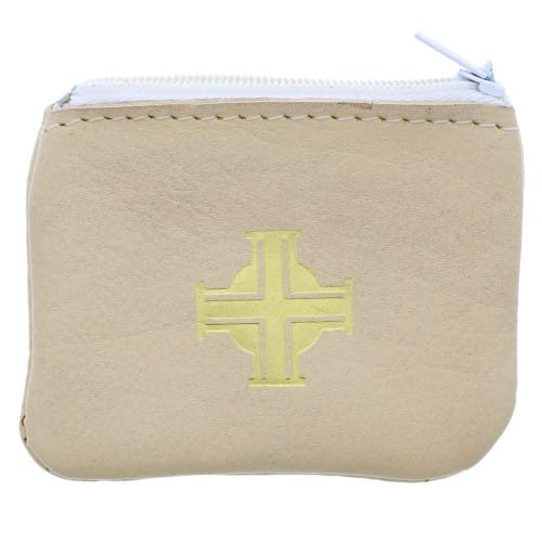 Beige Leather Rosary Case