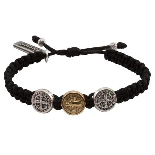 Benedictine Blessing Bracelet for Kids, Black Macrame