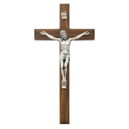Beveled Walnut Crucifix - 10 inch