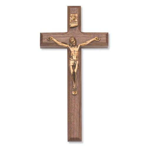 Beveled Walnut Crucifix with Bronze Corpus -  8 inch