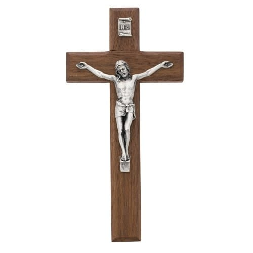 Beveled Walnut/Silver Crucifix 8 inch