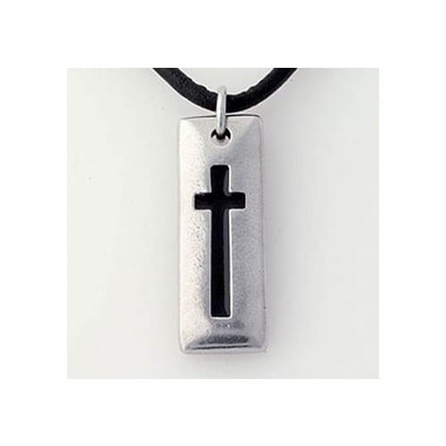 Black Cross Tablet Pendant