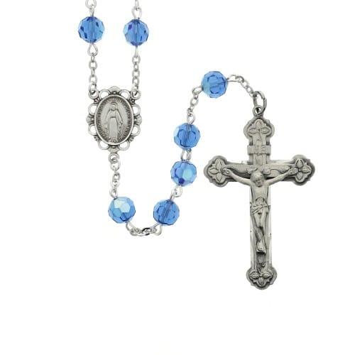 a5836f33d Blessed Mary Blue Swarovski Crystal Rosary   The Catholic Company