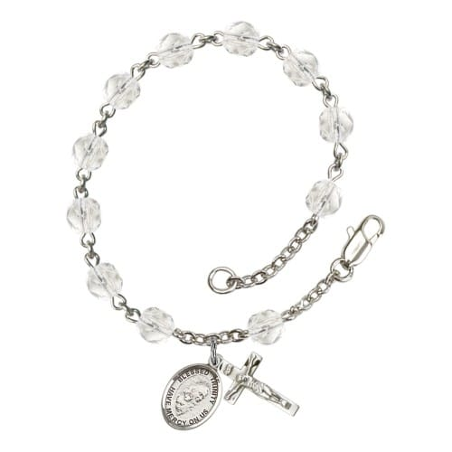 Blessed Trinity Crystal April Rosary Bracelet 6mm