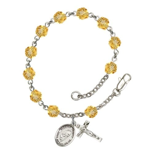 Blessed Trinity Yellow November Rosary Bracelet 6mm