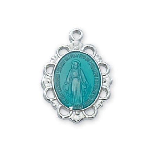 Blue Enamel Miraculous Medal with 18 inch Chain